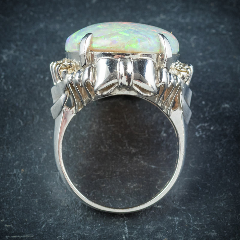 Opal Ring Platinum 10.84ct Opal top