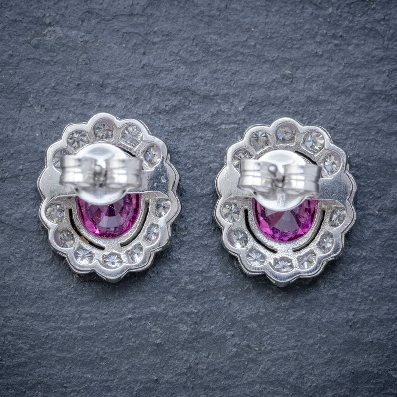 PINK SAPPHIRE DIAMOND CLUSTER STUD EARRINGS 18CT WHITE GOLD 2CT OF SAPPHIRE BACK