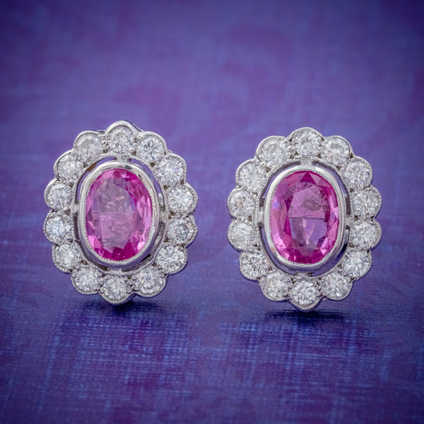 PINK SAPPHIRE DIAMOND CLUSTER STUD EARRINGS 18CT WHITE GOLD 2CT OF SAPPHIRE COVER