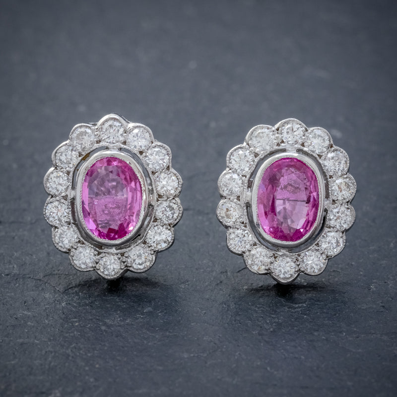 PINK SAPPHIRE DIAMOND CLUSTER STUD EARRINGS 18CT WHITE GOLD 2CT OF SAPPHIRE FRONT
