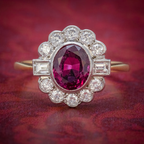 RUBY DIAMOND CLUSTER RING 1.60CT RUBY 1CT DIAMONDS COVER