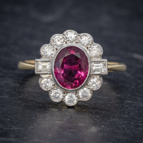 RUBY DIAMOND CLUSTER RING 1.60CT RUBY 1CT DIAMONDS FRONT