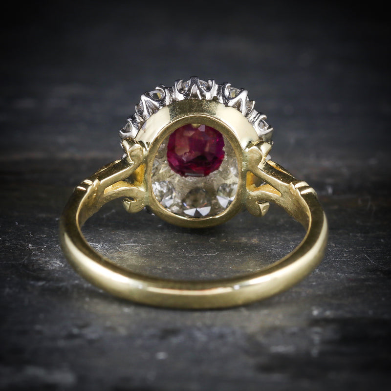 RUBY DIAMOND CLUSTER RING 18CT GOLD ENGAGEMENT RING BACK
