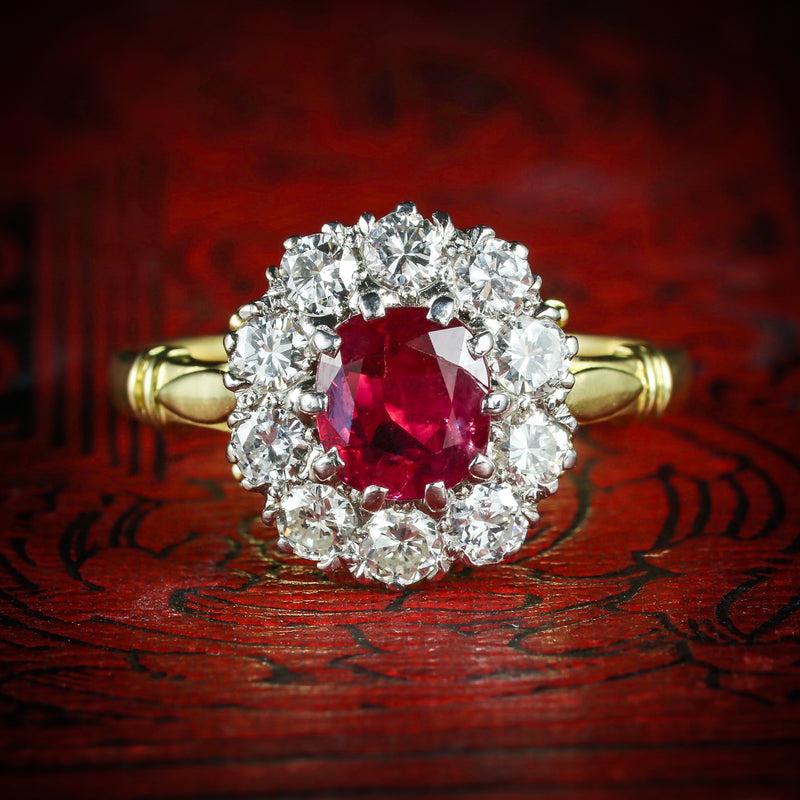 RUBY DIAMOND CLUSTER RING 18CT GOLD ENGAGEMENT RING COVER