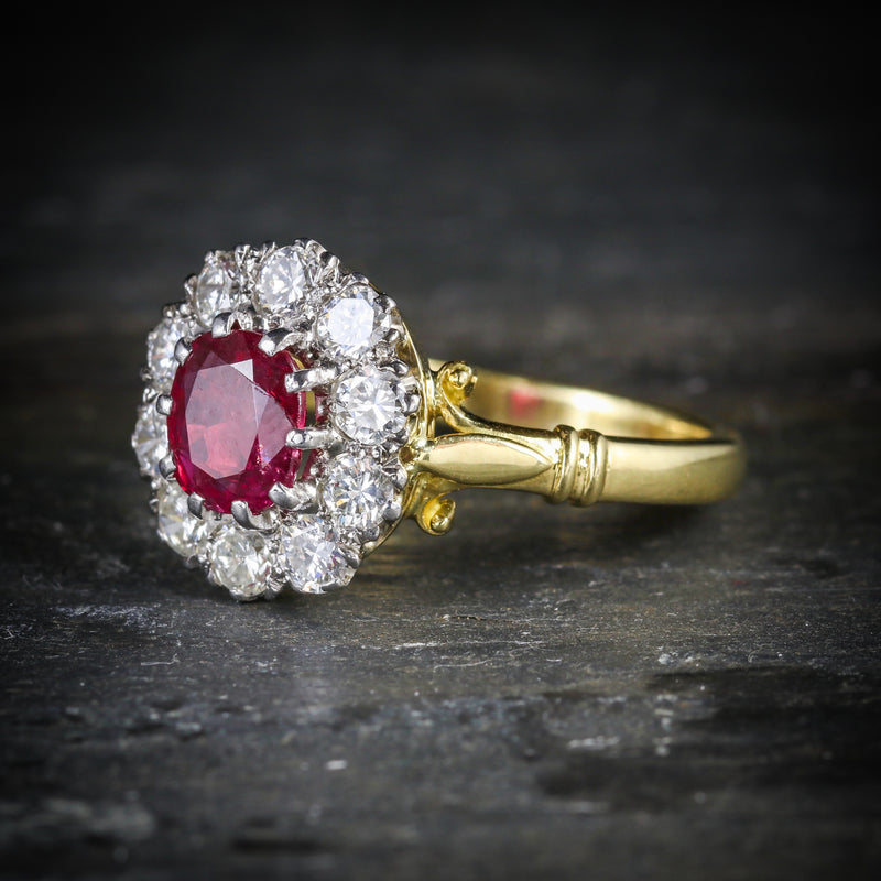 RUBY DIAMOND CLUSTER RING 18CT GOLD ENGAGEMENT RING SIDE