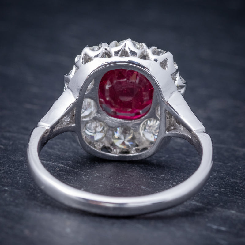 Ruby Diamond Cluster Ring 18ct White Gold 2.60ct Ruby BACK