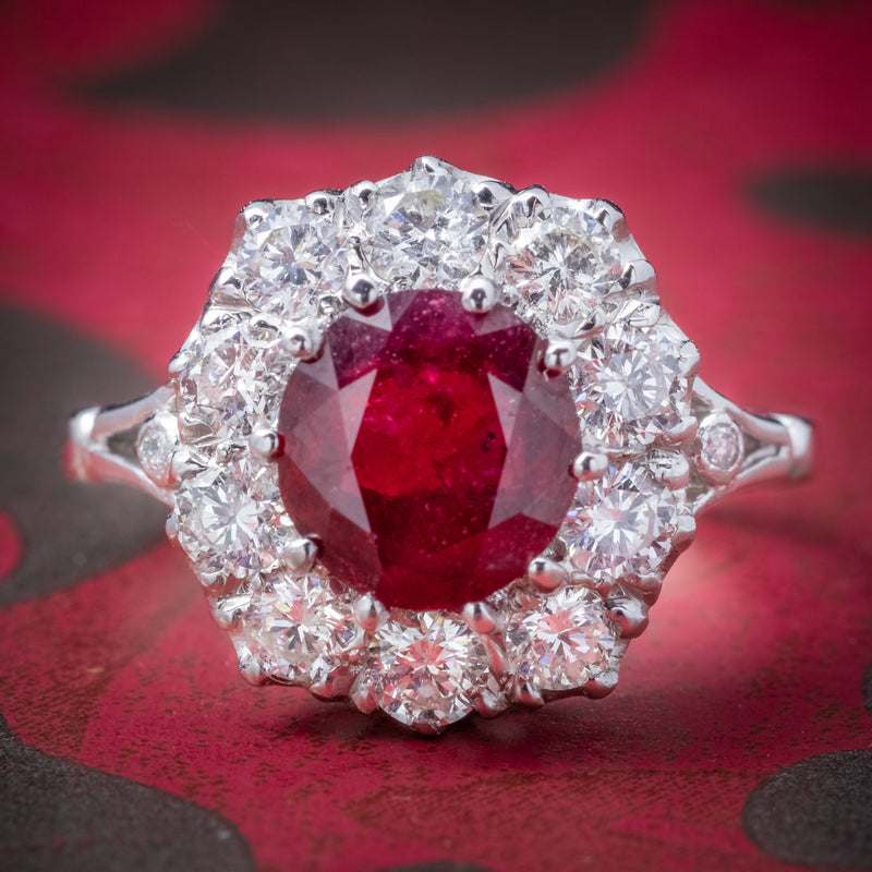 Ruby Diamond Cluster Ring 18ct White Gold 2.60ct Ruby COVER