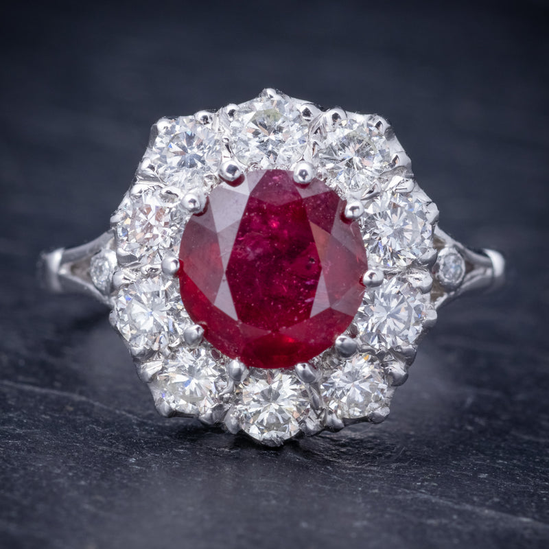 Ruby Diamond Cluster Ring 18ct White Gold 2.60ct Ruby FRONT