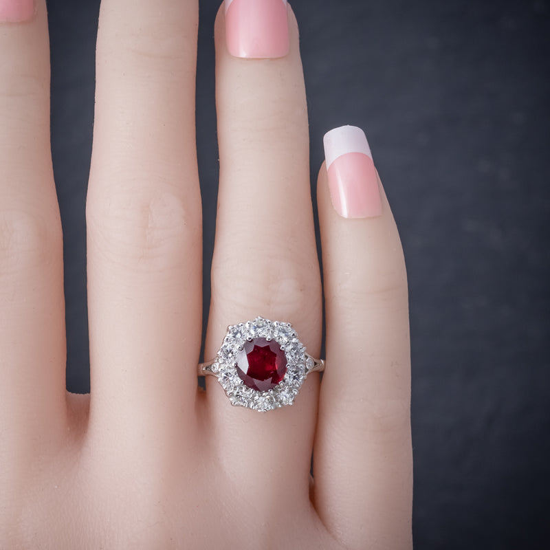 Ruby Diamond Cluster Ring 18ct White Gold 2.60ct Ruby HAND
