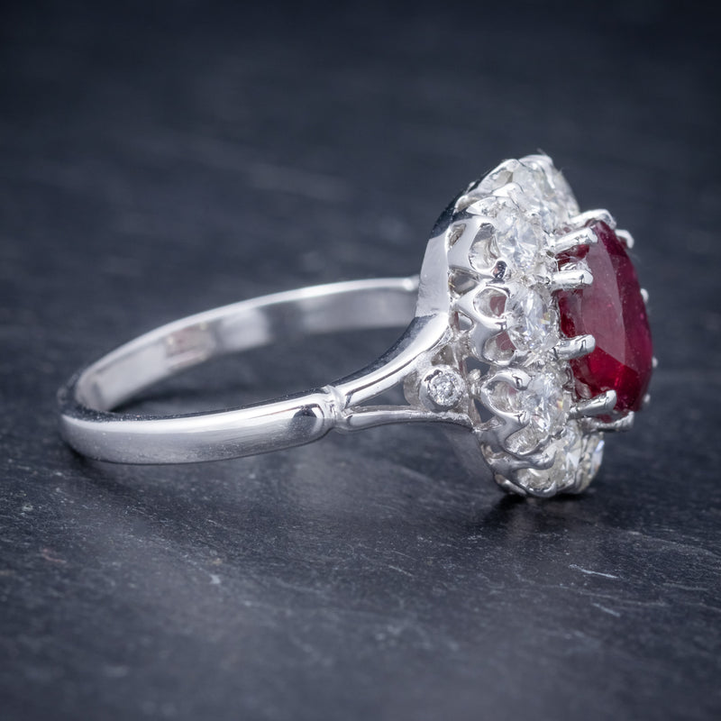 Ruby Diamond Cluster Ring 18ct White Gold 2.60ct Ruby SIDE 2