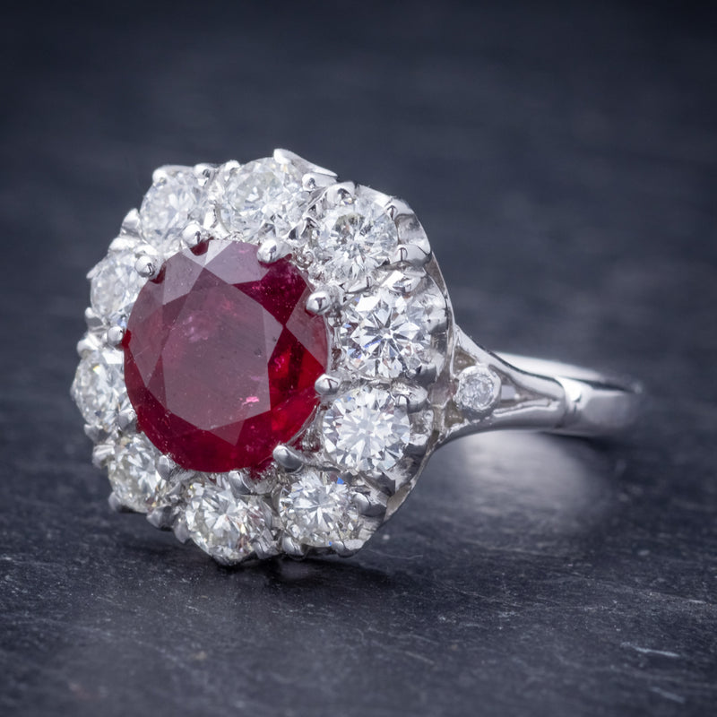 Ruby Diamond Cluster Ring 18ct White Gold 2.60ct Ruby SIDE
