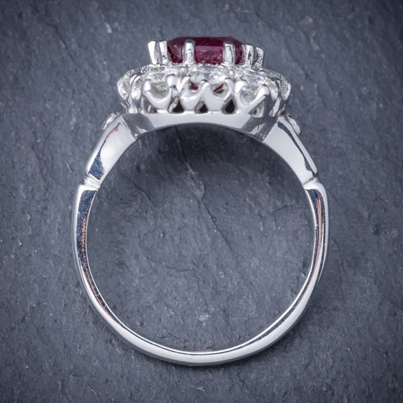 Ruby Diamond Cluster Ring 18ct White Gold 2.60ct Ruby TOP