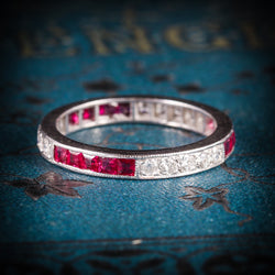 RUBY DIAMOND ETERNITY RING 18CT WHITE GOLD OLD CUT DIAMONDS  COVER