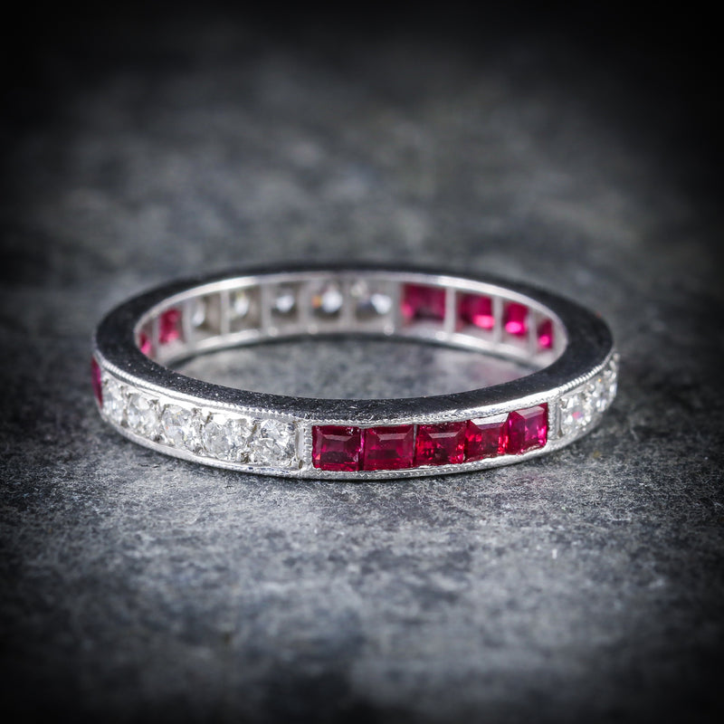 RUBY DIAMOND ETERNITY RING 18CT WHITE GOLD OLD CUT DIAMONDS  FRONT