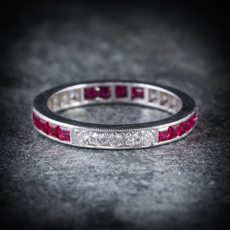 RUBY DIAMOND ETERNITY RING 18CT WHITE GOLD OLD CUT DIAMONDS  SIDE