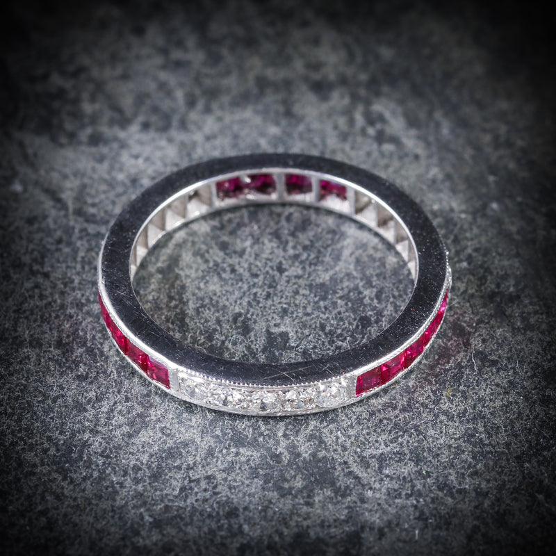 RUBY DIAMOND ETERNITY RING 18CT WHITE GOLD OLD CUT DIAMONDS  TOP