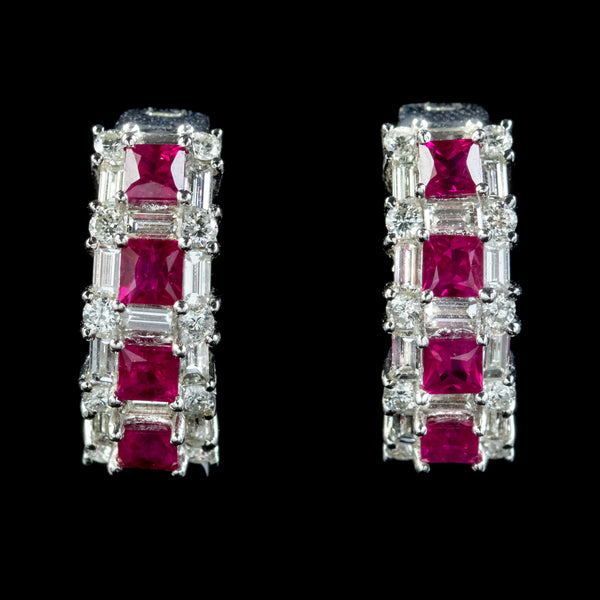 Ruby Diamond Half Hoop Earrings 18ct White Gold 1.20ct Of Ruby 3ct Of Diamond