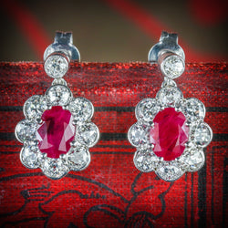 Ruby Diamond Cluster Earrings 18ct White Gold COVER
