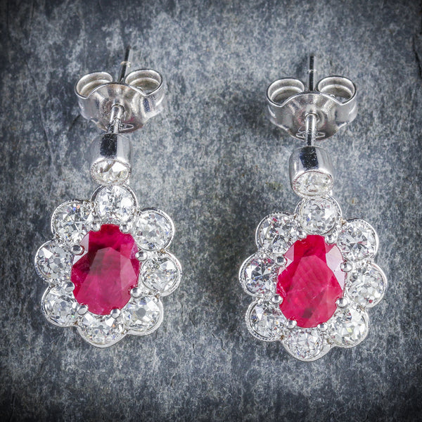 Ruby Diamond Cluster Earrings 18ct White Gold FRONT