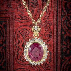 Ruby Diamond Pendant Necklace 9ct Gold Chain 6ct Ruby cover