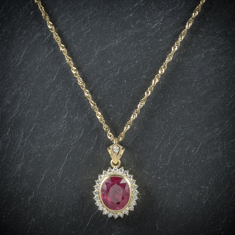 Ruby Diamond Pendant Necklace 9ct Gold Chain 6ct Ruby front