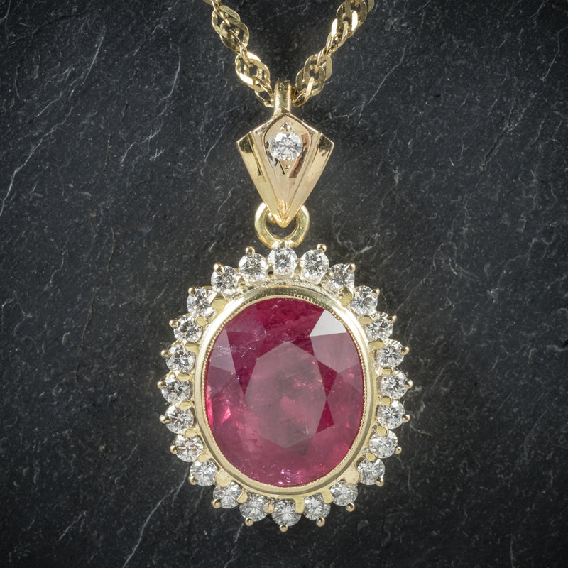Ruby Diamond Pendant Necklace 9ct Gold Chain 6ct Ruby pendant