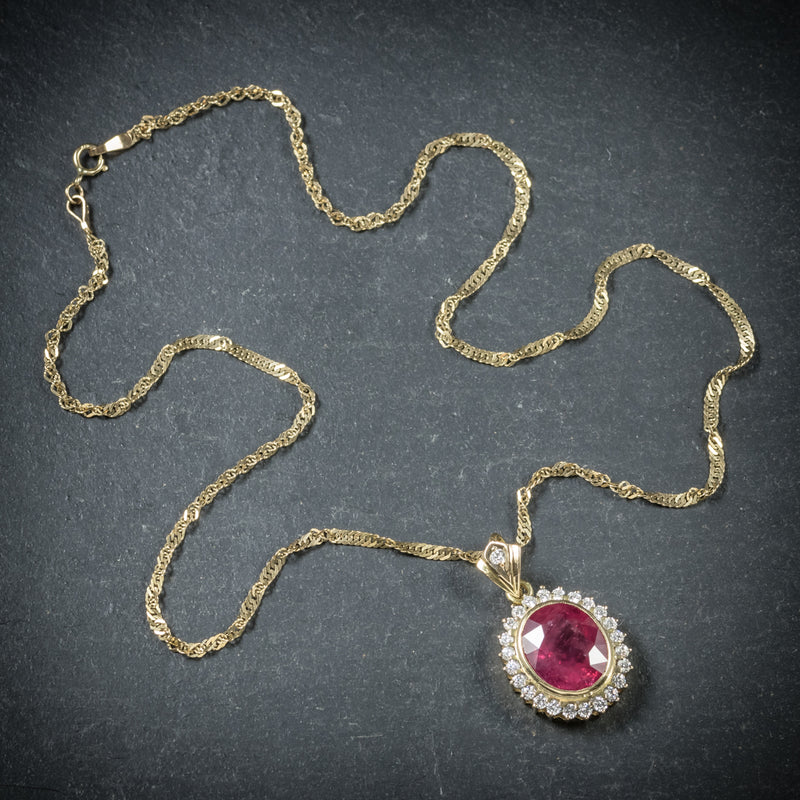 Ruby Diamond Pendant Necklace 9ct Gold Chain 6ct Ruby top