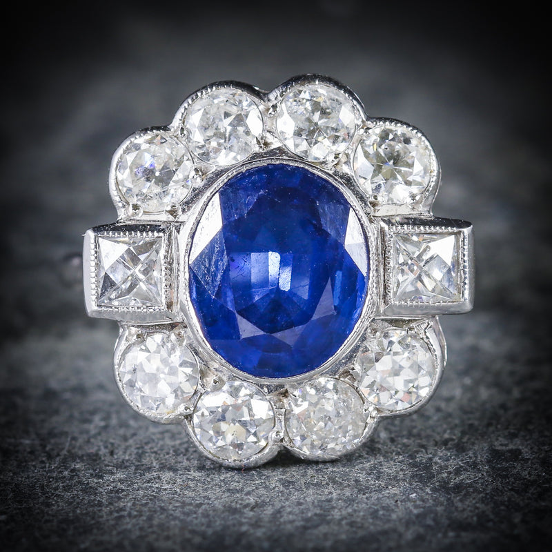 SAPPHIRE AND DIAMOND RING 18CT WHITE GOLD 2.80CT SAPPHIRE FRONT