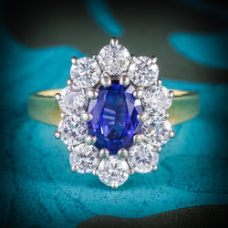 SAPPHIRE DIAMOND CLUSTER ENGAGEMENT RING 18CT GOLD 1.80CT SAPPHIRE COVER