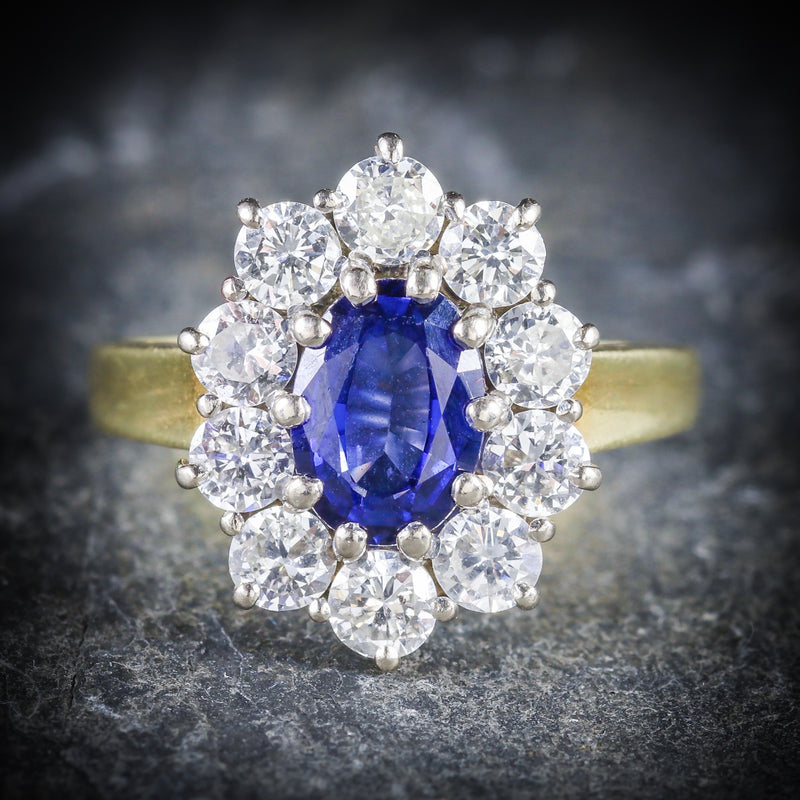 SAPPHIRE DIAMOND CLUSTER ENGAGEMENT RING 18CT GOLD 1.80CT SAPPHIRE FRONT