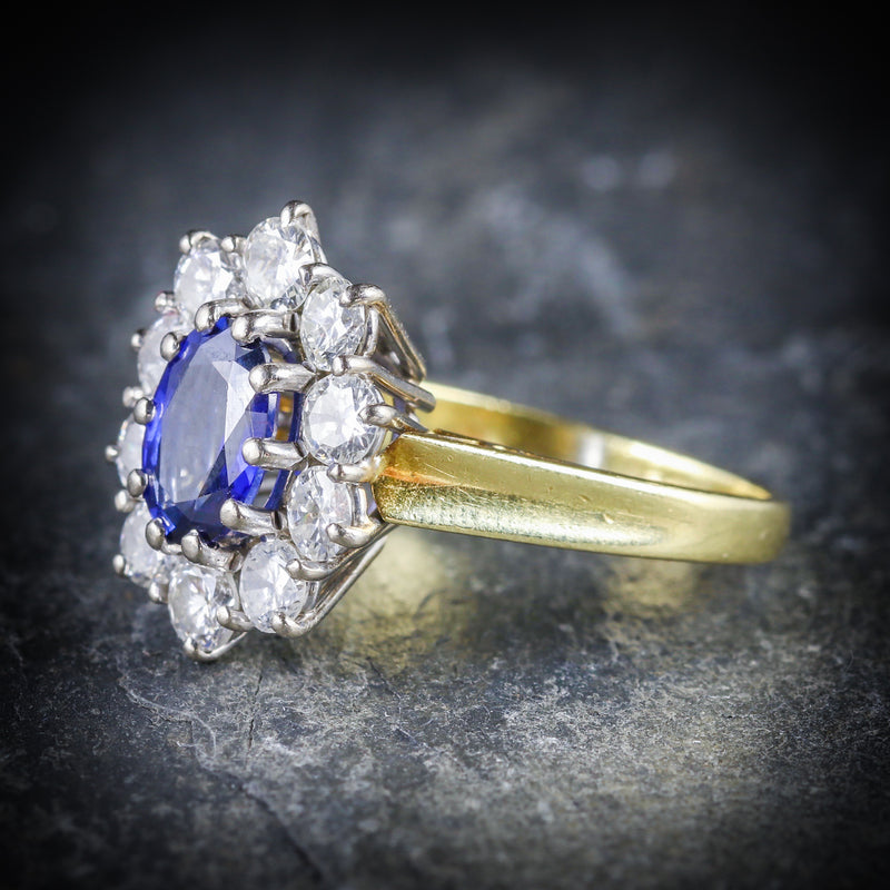 SAPPHIRE DIAMOND CLUSTER ENGAGEMENT RING 18CT GOLD 1.80CT SAPPHIRE SIDE