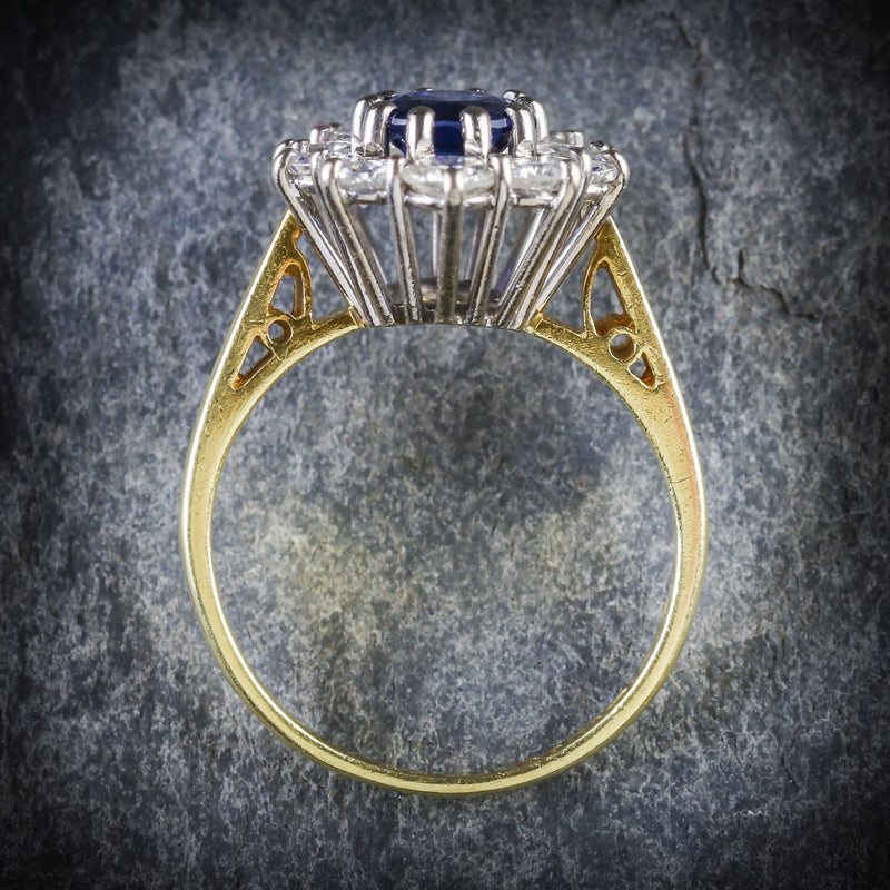 SAPPHIRE DIAMOND CLUSTER ENGAGEMENT RING 18CT GOLD 1.80CT SAPPHIRE TOP