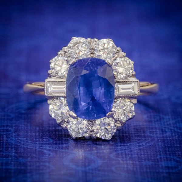 SAPPHIRE DIAMOND CLUSTER RING 18CT GOLD 2.80CT SAPPHIRE COVER