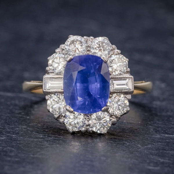 SAPPHIRE DIAMOND CLUSTER RING 18CT GOLD 2.80CT SAPPHIRE FRONT