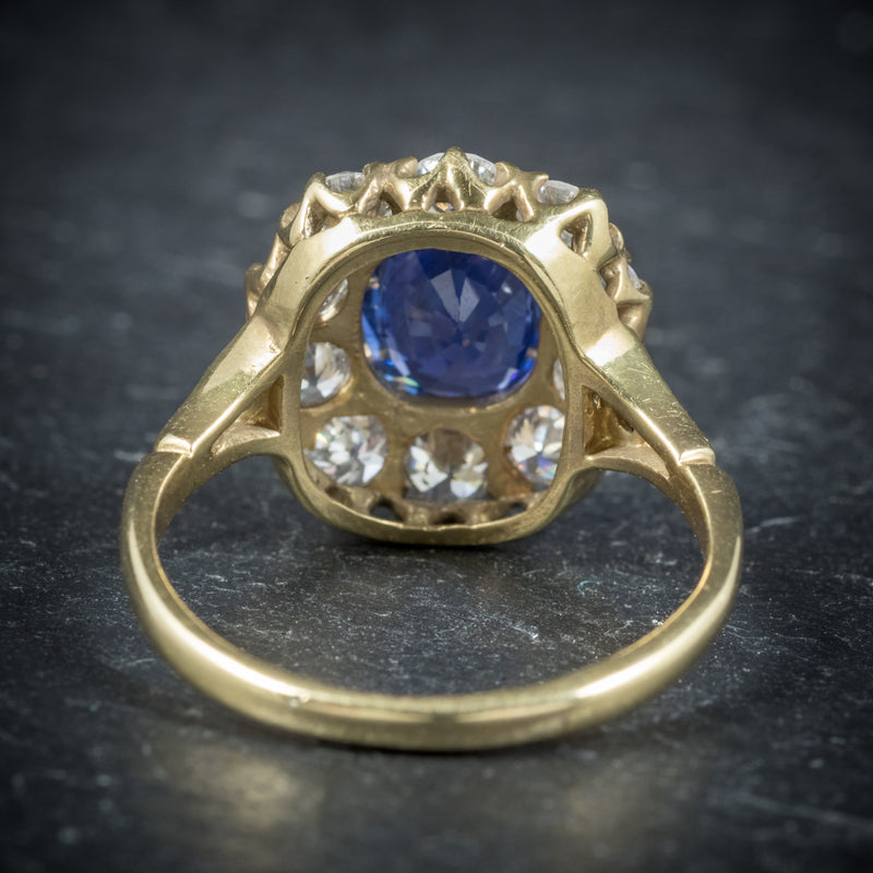 Sapphire Diamond Cluster Ring 18ct Gold  back