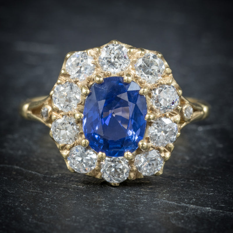 Sapphire Diamond Cluster Ring 18ct Gold  front