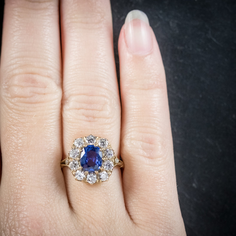 Sapphire Diamond Cluster Ring 18ct Gold  hand