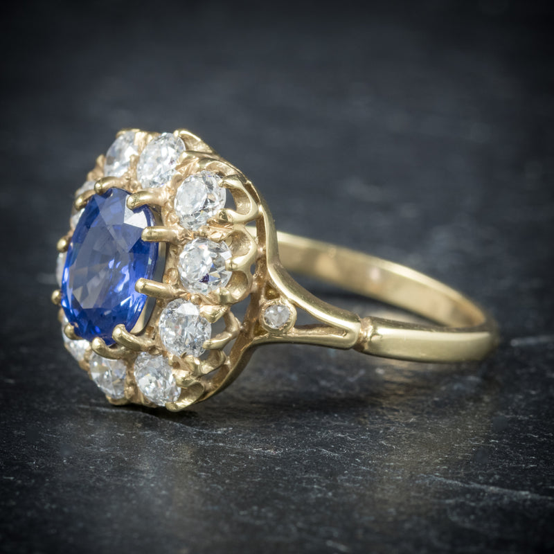 Sapphire Diamond Cluster Ring 18ct Gold  side