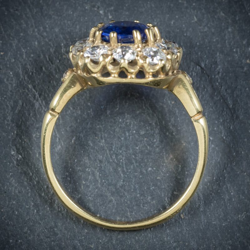 Sapphire Diamond Cluster Ring 18ct Gold  top