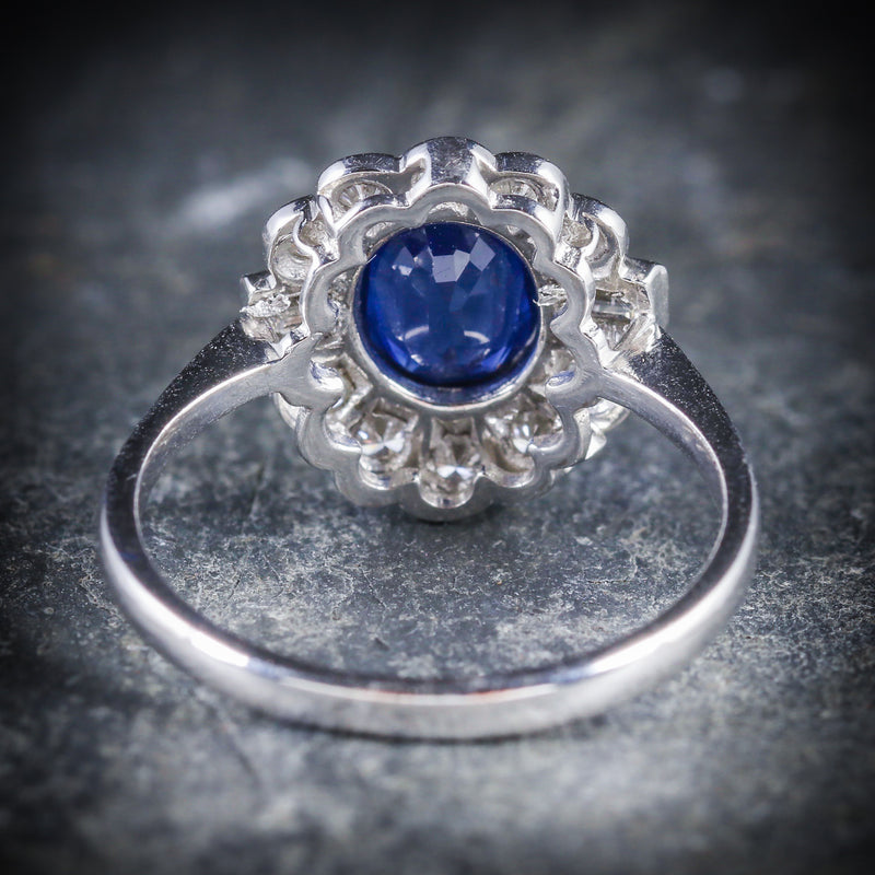 SAPPHIRE DIAMOND RING 18CT WHITE GOLD 1.50CT SAPPHIRE BACK