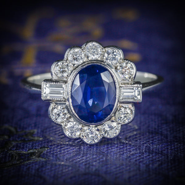 SAPPHIRE DIAMOND RING 18CT WHITE GOLD 1.50CT SAPPHIRE COVER