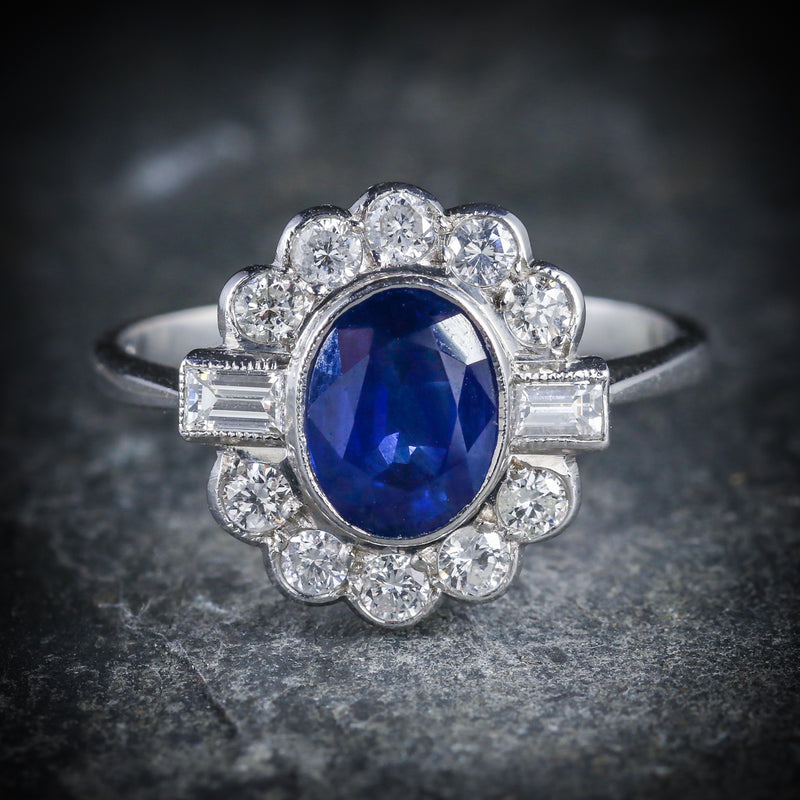 SAPPHIRE DIAMOND RING 18CT WHITE GOLD 1.50CT SAPPHIRE FRONT