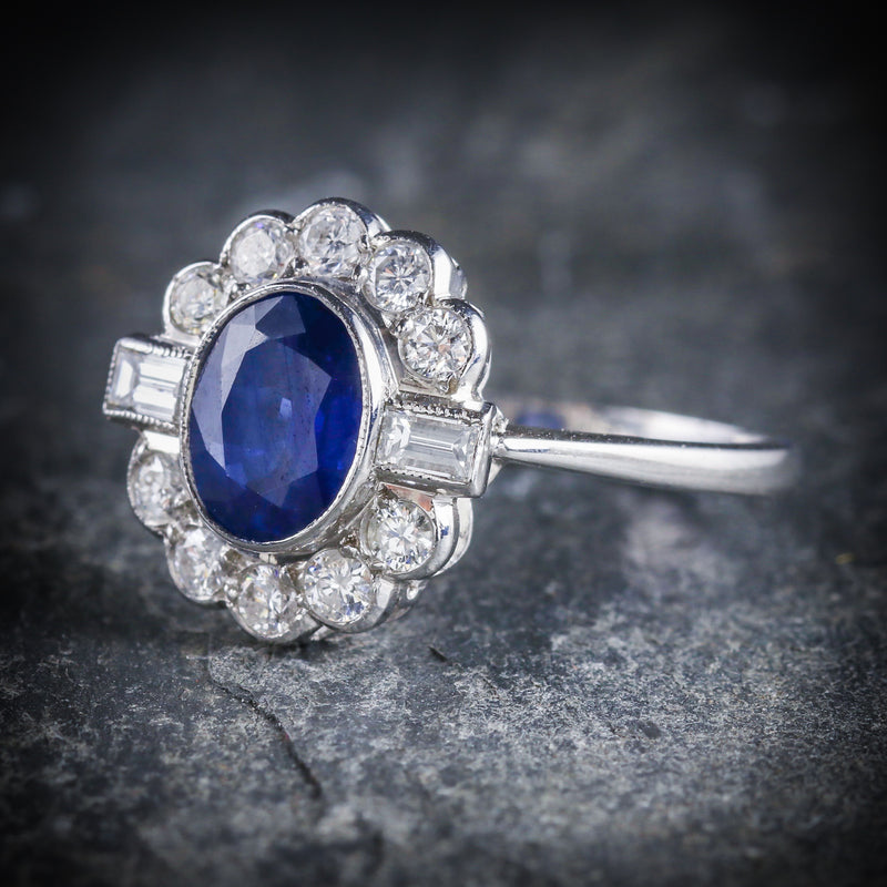 SAPPHIRE DIAMOND RING 18CT WHITE GOLD 1.50CT SAPPHIRE SIDE