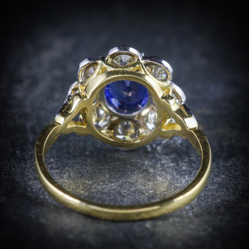 SAPPHIRE DIAMOND RING CLUSTER 18CT GOLD RING BACK