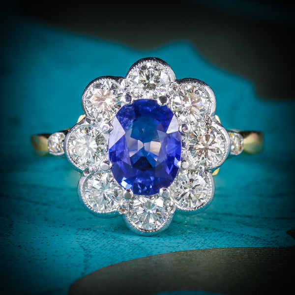 SAPPHIRE DIAMOND RING CLUSTER 18CT GOLD RING COVER