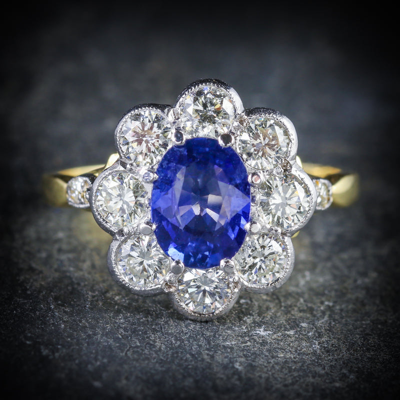SAPPHIRE DIAMOND RING CLUSTER 18CT GOLD RING FRONT