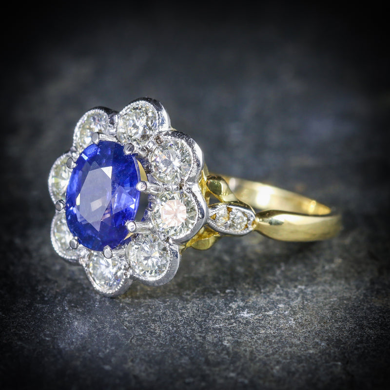 SAPPHIRE DIAMOND RING CLUSTER 18CT GOLD RING SIDE
