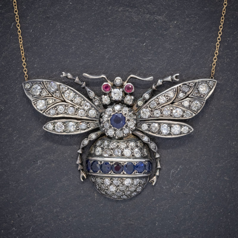 SAPPHIRE DIAMOND RUBY BEE PENDANT NECKLACE SILVER 18CT GOLD front