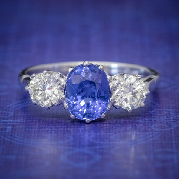 SAPPHIRE DIAMOND TRILOGY ENGAGEMENT RING PLATIMUM 1.50CT SAPPHIRE 1CT DIAMOND COVER