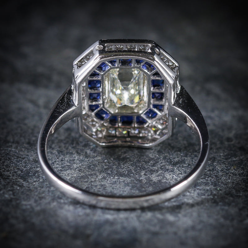 SAPPHIRE EMERALD CUT DIAMOND RING VS1 DIAMONDS FRENCH CUT SAPPHIRES 18CT GOLD BACK